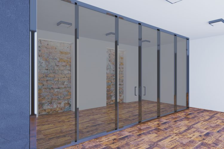 Office meeting room with glass partitioning