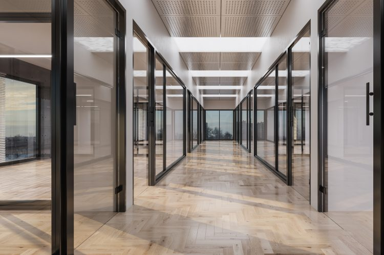 Silicone joint glass office partition