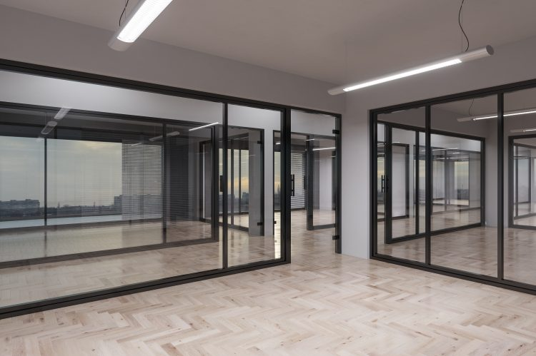 Full height glass office partitions in modern office fit out