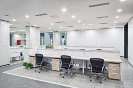 Open plan office fit out with office desks and chairs