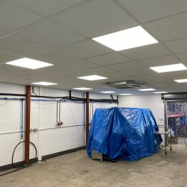 Newly installed suspended ceiling