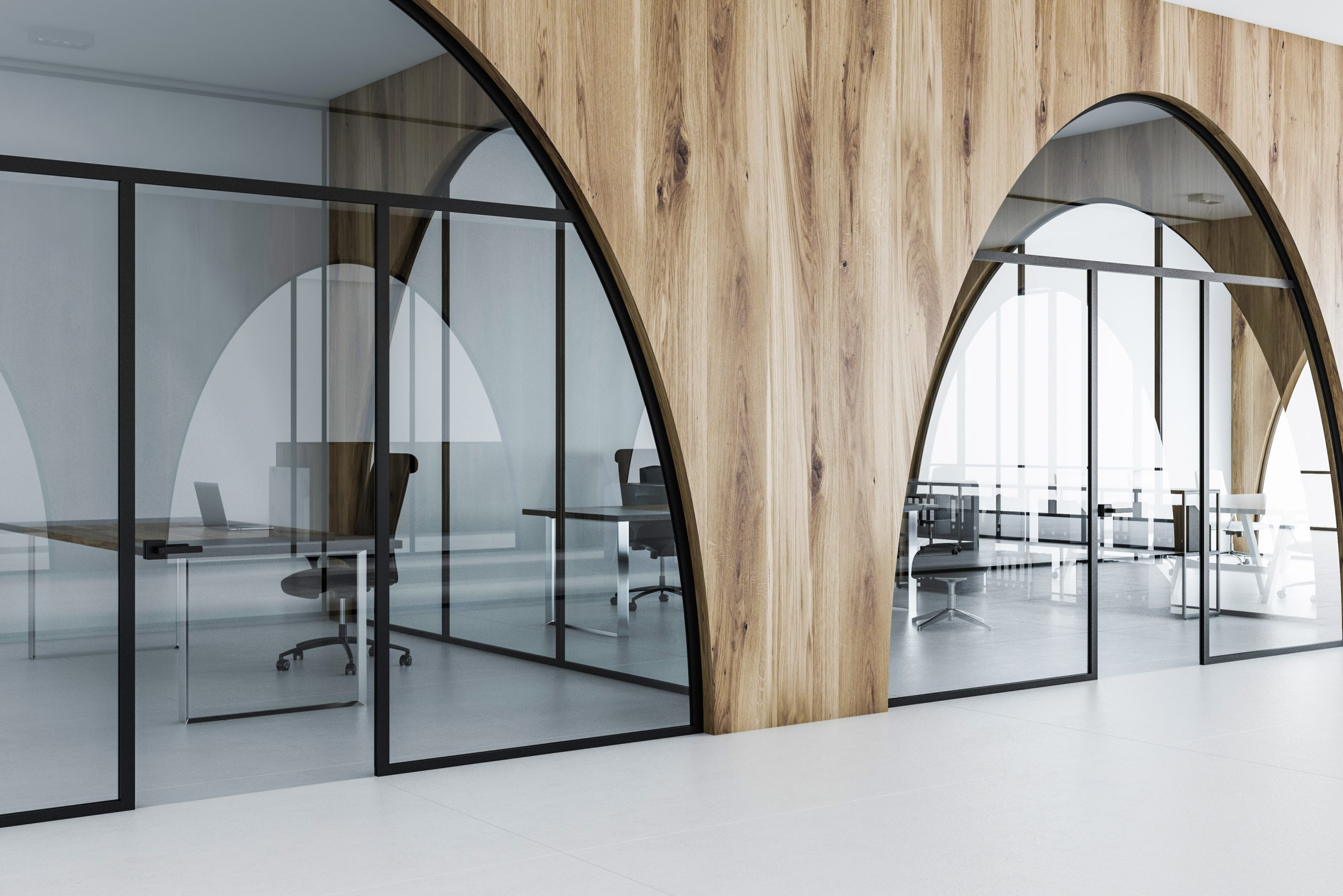 Glass office partitions after office refurbishment